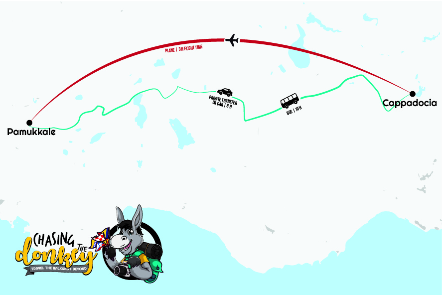 Pamukkale to Cappadocia To Pamukkale Map