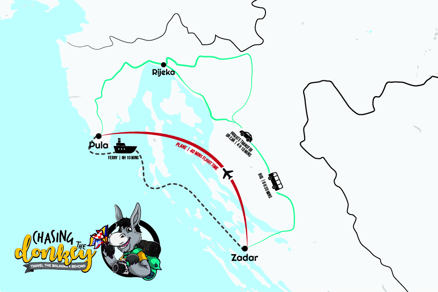 Pula To Zadar To Pula Map