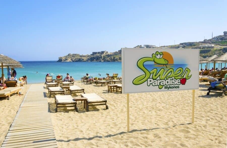 Best sandy beach in Greece - Super paradise beach on the greek island Mykonos, Greece.