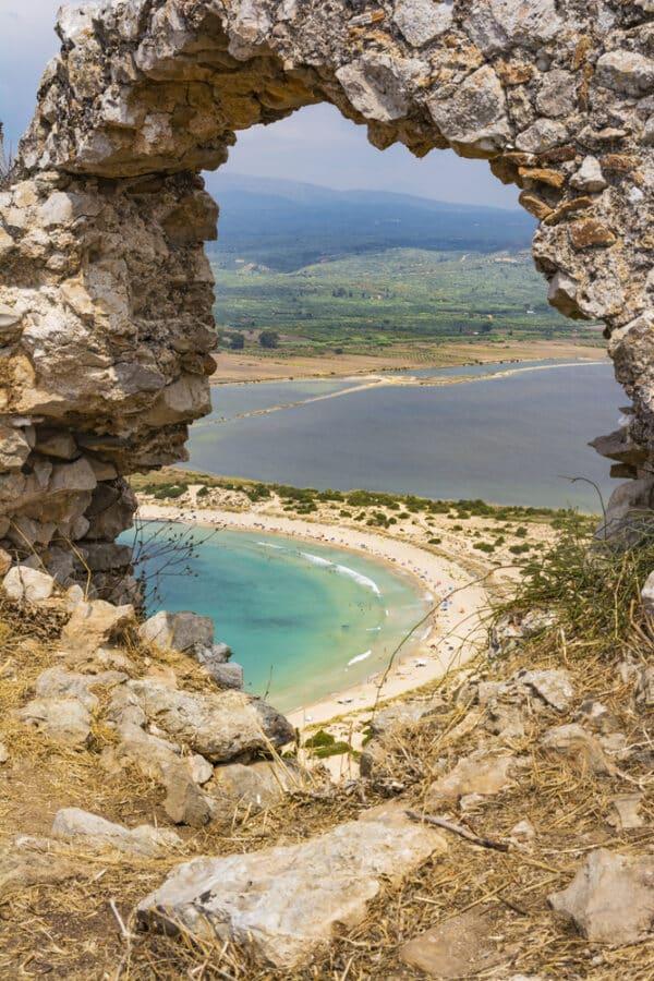Sandy Beach In Greece - View of Voidokilia beach and Divari lagoon in the Peloponnes