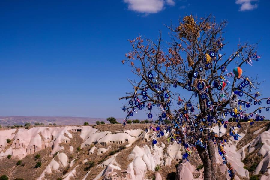 Turkish Souvenirs - Cappadocia, Turkey- Tree hanging Nazar amulets