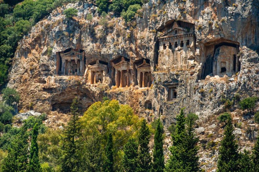 Hidden Gems In Turkey - Famous Lycian Tombs of ancient Caunos city, Dalyan, Turkey.