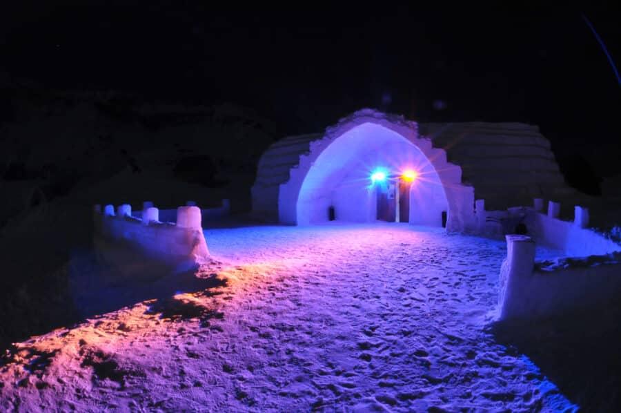 Romania in Winter - Ice hotel in Romania, on Balea lake.