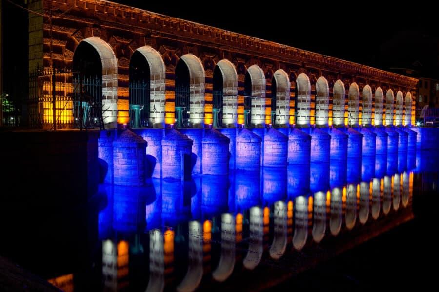 Cities in Turkey - Konya, Beysehir stone bridge view in town.Historic stone bridge on Beysehir lake