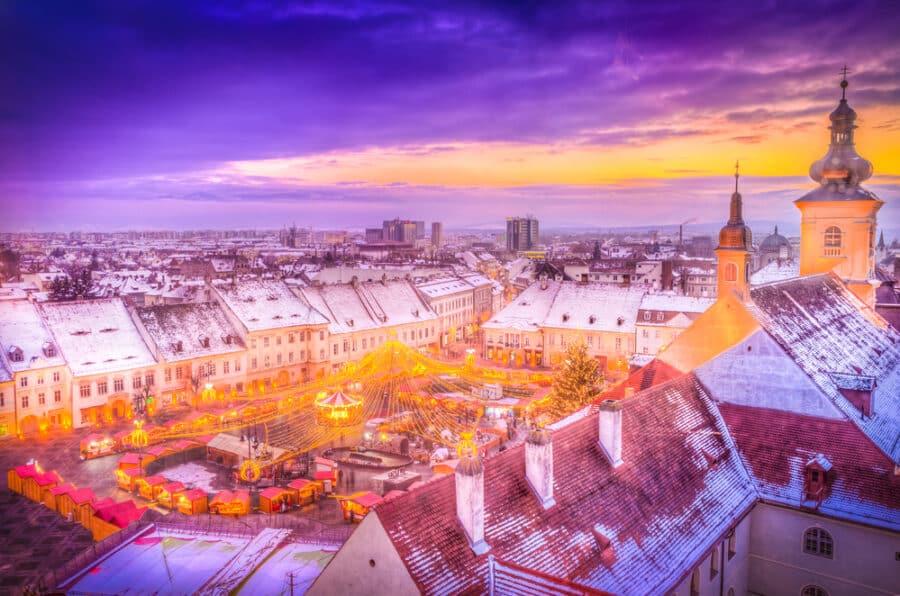 Winter in Romania - Panoramic view over Christmas Market in Sibiu, Transylvania
