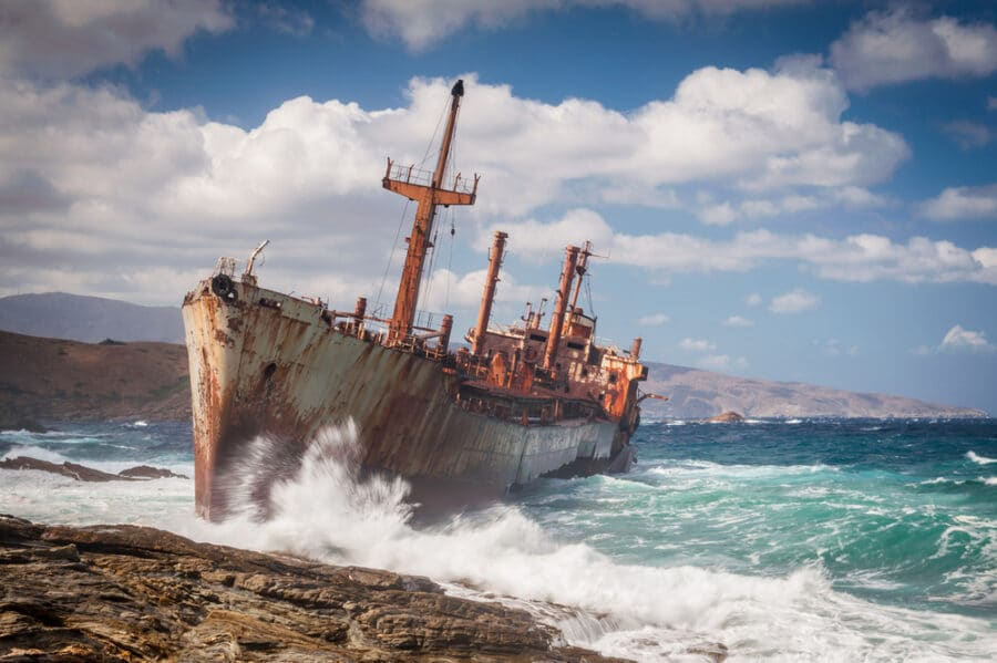 Abandoned shipwreck on Andros, Greece