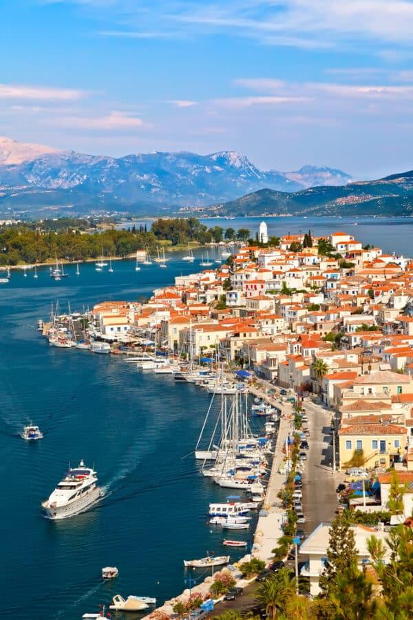 View of Poros Island, Island close to Athens Greece