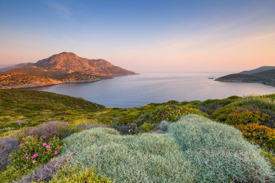 Fourni island and view of Thymaina island early in the morning, Greece.